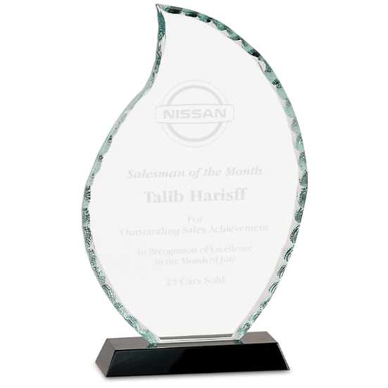Faceted Glass Flame Award With Etched Logo