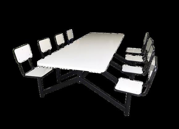 Mesa para Refeitório 8 lugares com bancos giratórios