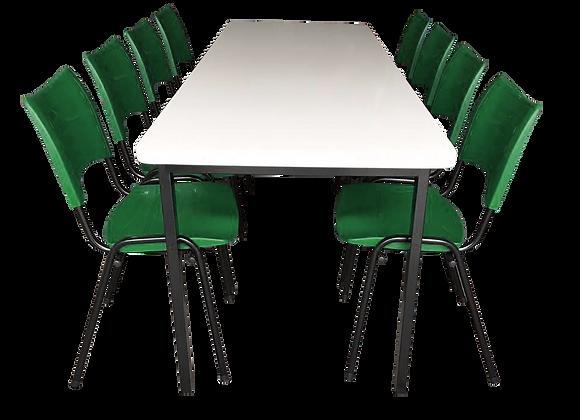 Mesa monobloco com 8 cadeiras ISO na cor verde