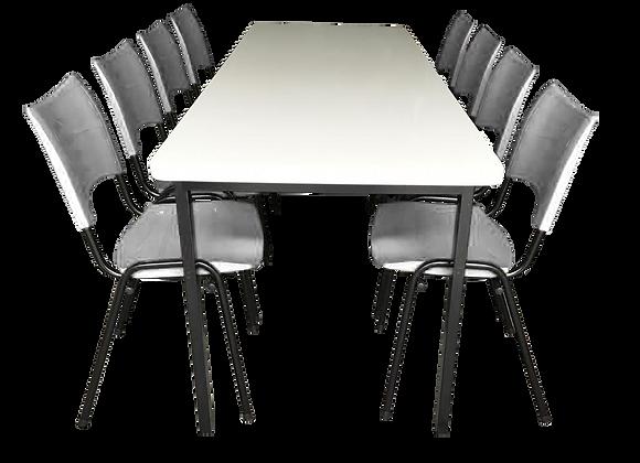 Mesa monobloco com 8 cadeiras ISO na cor branca