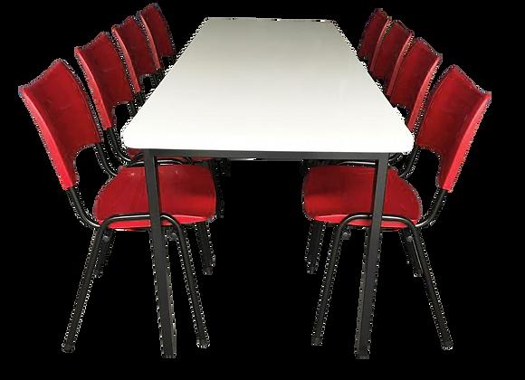 Mesa monobloco com 8 cadeiras ISO na cor vermelha