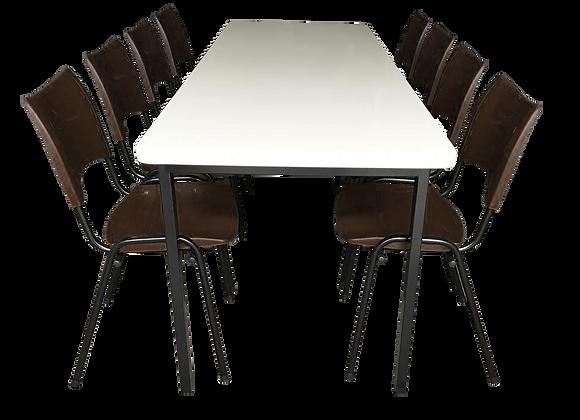 Mesa monobloco com 8 cadeiras ISO na cor marrom