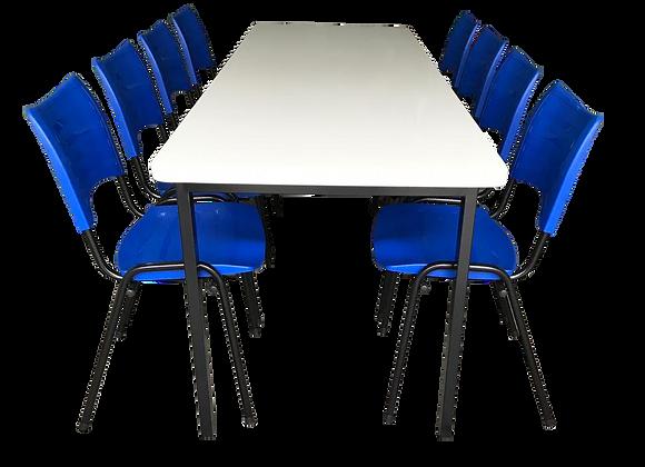 Mesa monobloco com 8 cadeiras ISO na cor azul