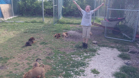 At the Pawtcake Refuge celebrating rescued safe puppies