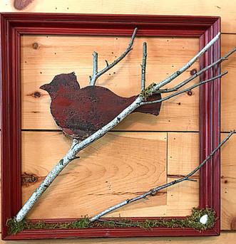 Framed Metal Bird