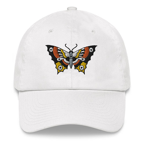 White Butterfly embroidered Dad hat