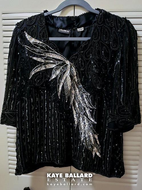 Vintage Jagswear Black Silk Beaded & Sequined Top & Skirt
