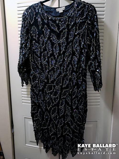 Vintage Avant Garde Black Beaded & Sequined Dress