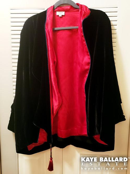Black Velvet & Red Silk Wrap by Wild Ginger of Santa Fe