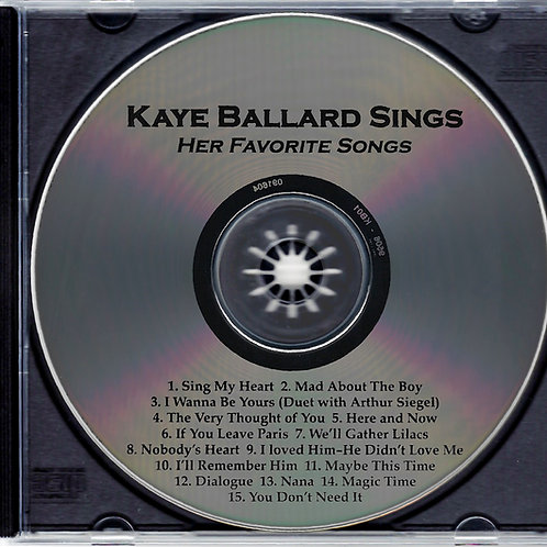 Kaye Ballard Sings Her Favorite Songs (no insert/cover)
