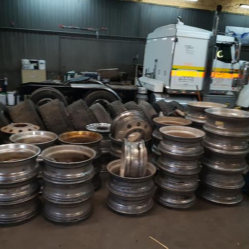 Aluminum rim waiting for polishing