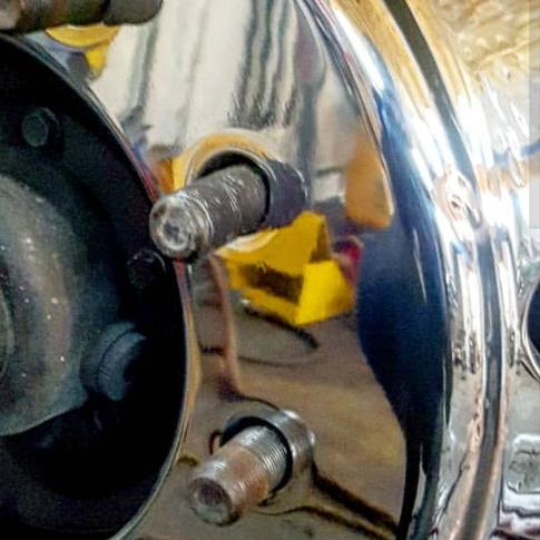 mirror shined truck rim