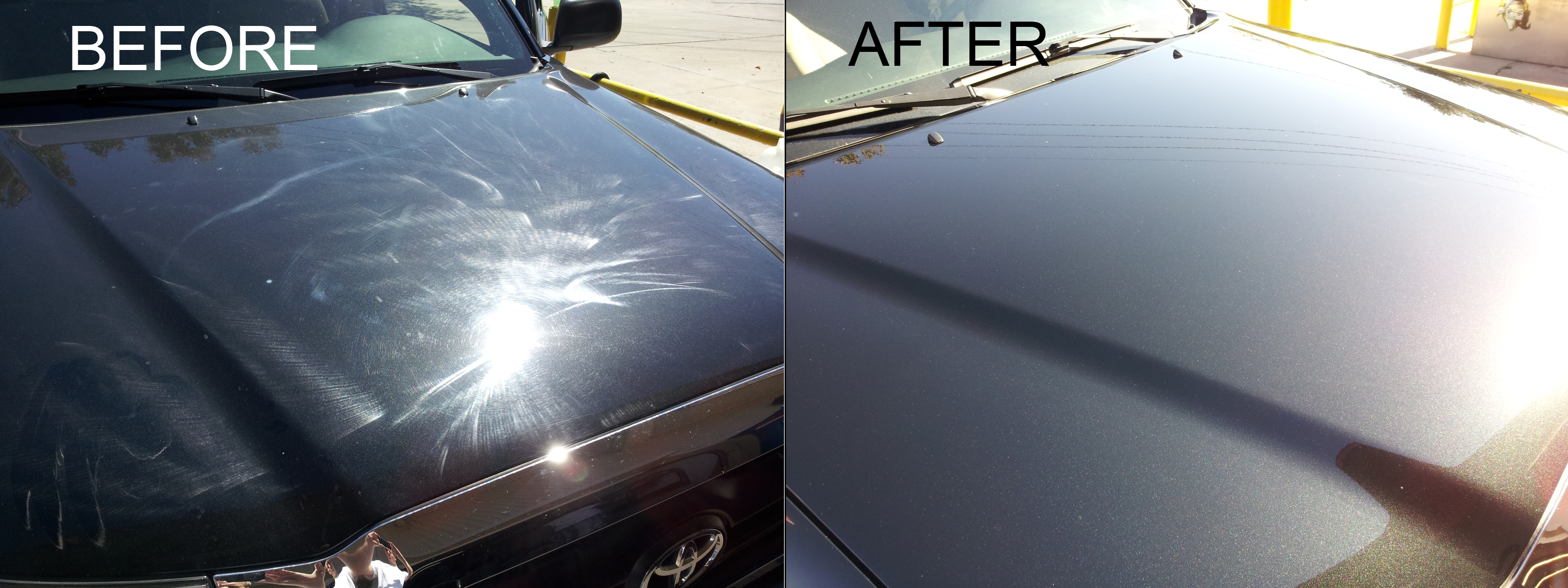 Before and after paint detailing