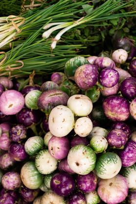 Aubergines rondes et cébettes (Vietnam)