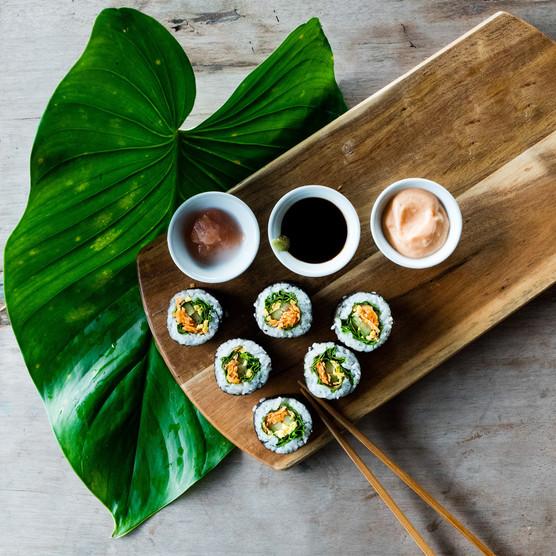 Sushis aux légumes croquants