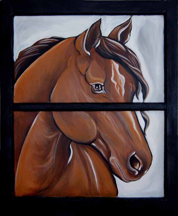 Horse on old Window