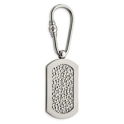 Titanium Polished Pebble Textured Key Ring