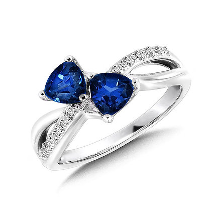 Trillion-Cut  Created Sapphire and Diamond Criss-Cross Ring