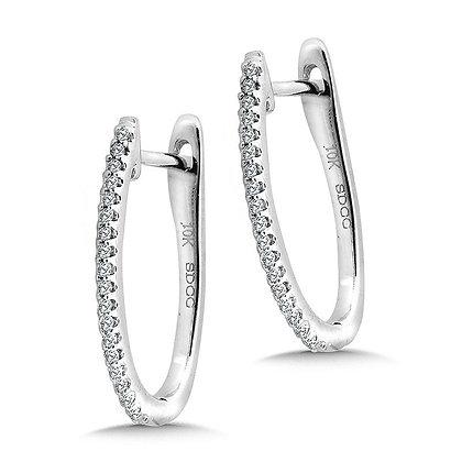 Petite Pave Diamond Horseshoe Hoop Earrings
