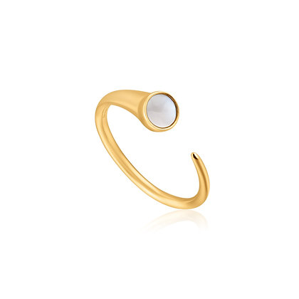 Gold Mother Of Pearl Claw Ring