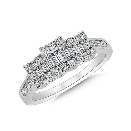 3-Stone Illusion Plumb Collection Cluster Diamond Ring