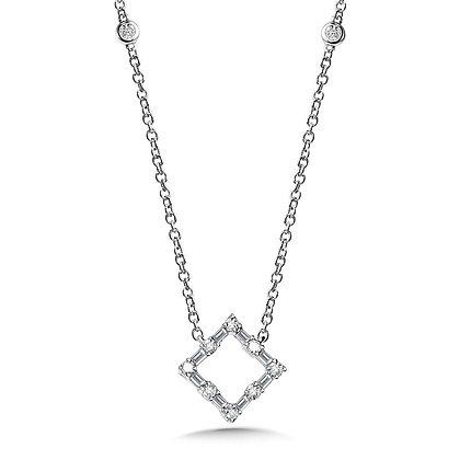 Square Baguette Diamond Necklace