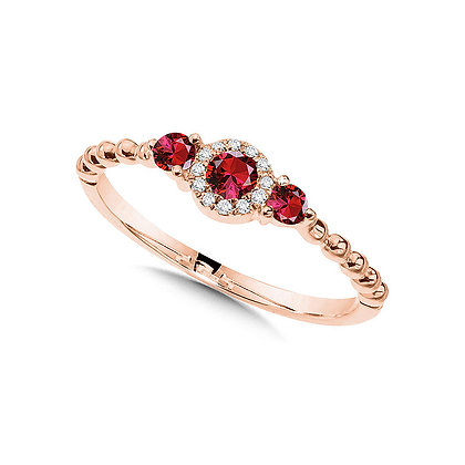 Beaded 3-Stone Halo Diamond and Ruby Ring