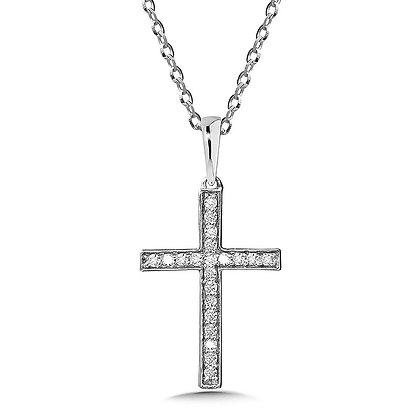Bezeled Diamond Cross Pendant