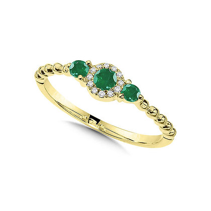 Beaded 3-Stone Halo Diamond and Emerald Ring