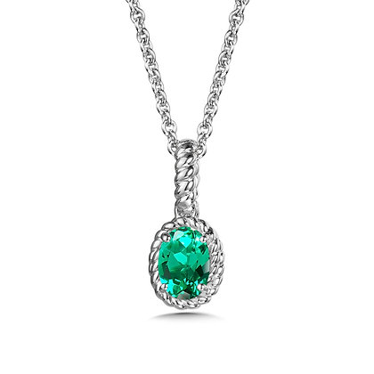 Created Emerald Pendant in Sterling Silver