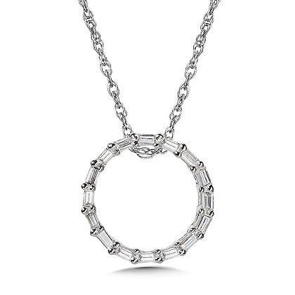 10K Prong-Set Baguette Diamond Circle Pendant