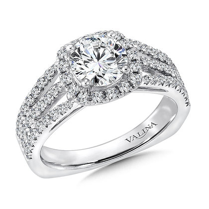 CUSHION- SHAPED HALO SPLIT SHANK DIAMOND ENGAGEMENT RING