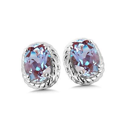 Created Alexandrite Earrings in Sterling Silver