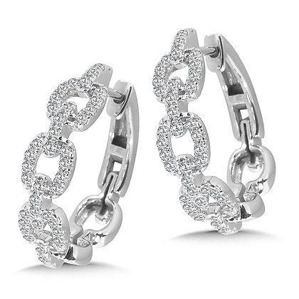 CABLE CHAIN DIAMOND HOOP EARRINGS