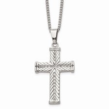 Stainless Steel Polished and Textured Cross 22in Necklace