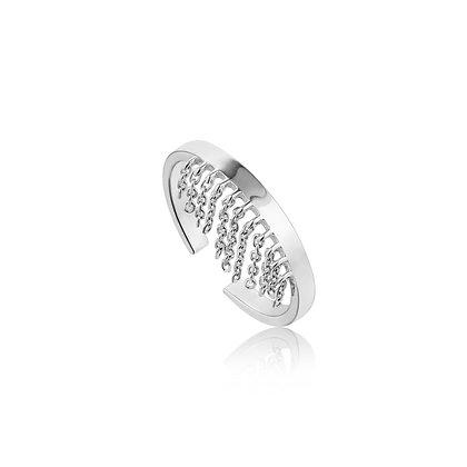 Silver Fringe Fall Adjustable Ring
