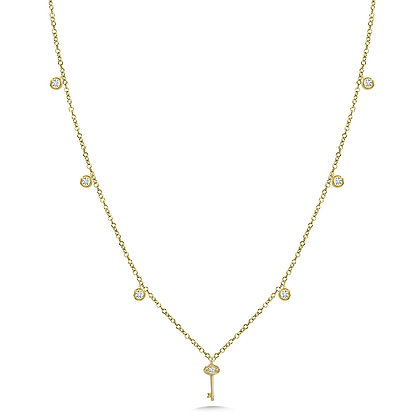 ROUND-BEZEL & KEY ACCENTED DIAMOND CHAIN NECKLACE