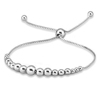 Graduating Sterling Silver Ball Bolo Bracelet
