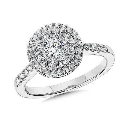 Round Cluster Diamond Mirage Halo Engagement Ring
