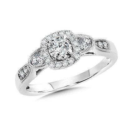 Cushion-Shaped Halo and Round Diamond Engagement Ring