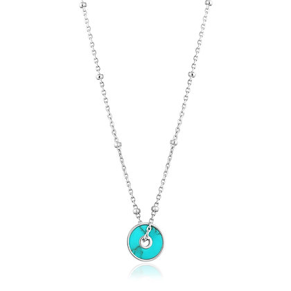 SILVER TURQUOISE DISC NECKLACE