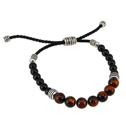 Men's Tiger Eye & Onyx Bead Bolo Bracelet