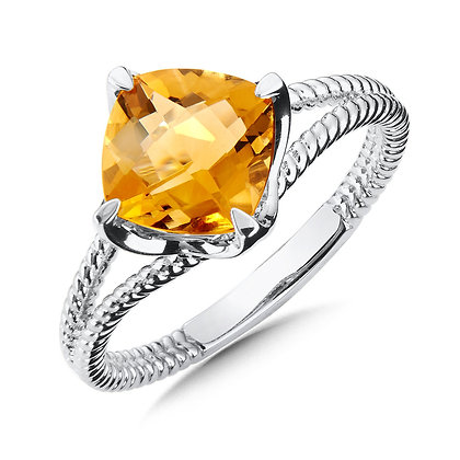 Sterling Silver Cushion Citrine Ring