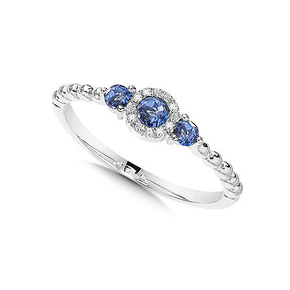 Beaded 3-Stone Halo Diamond and Sapphire Ring