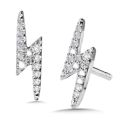 10K Lightning Bolt Diamond Earrings