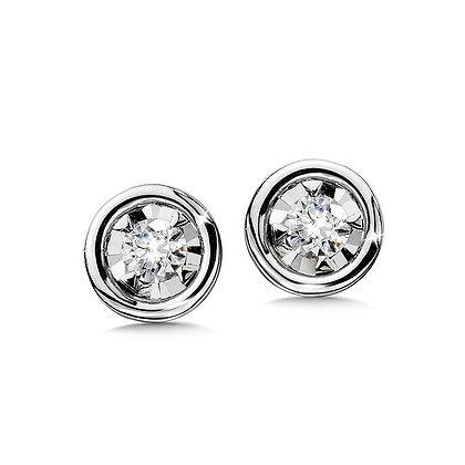 Bezeled Diamond Star Solitaire Stud Earrings