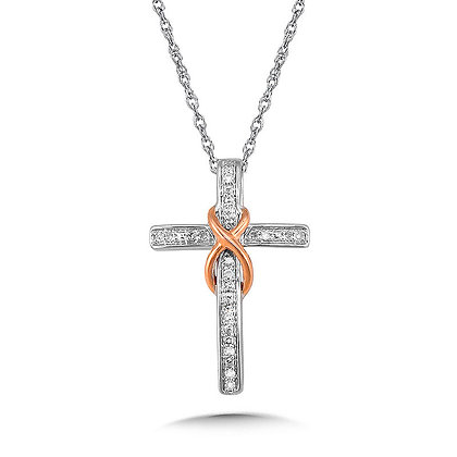 Sterling Silver and 14K Rose Gold Infinity Cross Diamond Pendant