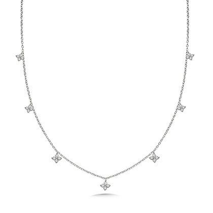 FLORAL ACCENTED DIAMOND CHAIN NECKLACE