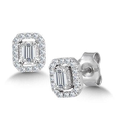 DIAMOND STAR EMERALD-SHAPED EARRINGS