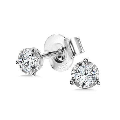 1/4 TDW 3-PRONG DIAMOND STAR STUDS